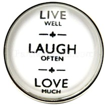 White Live Laugh Love 20mm Snap Interchangeable Charm For Ginger Snaps J... - $6.19