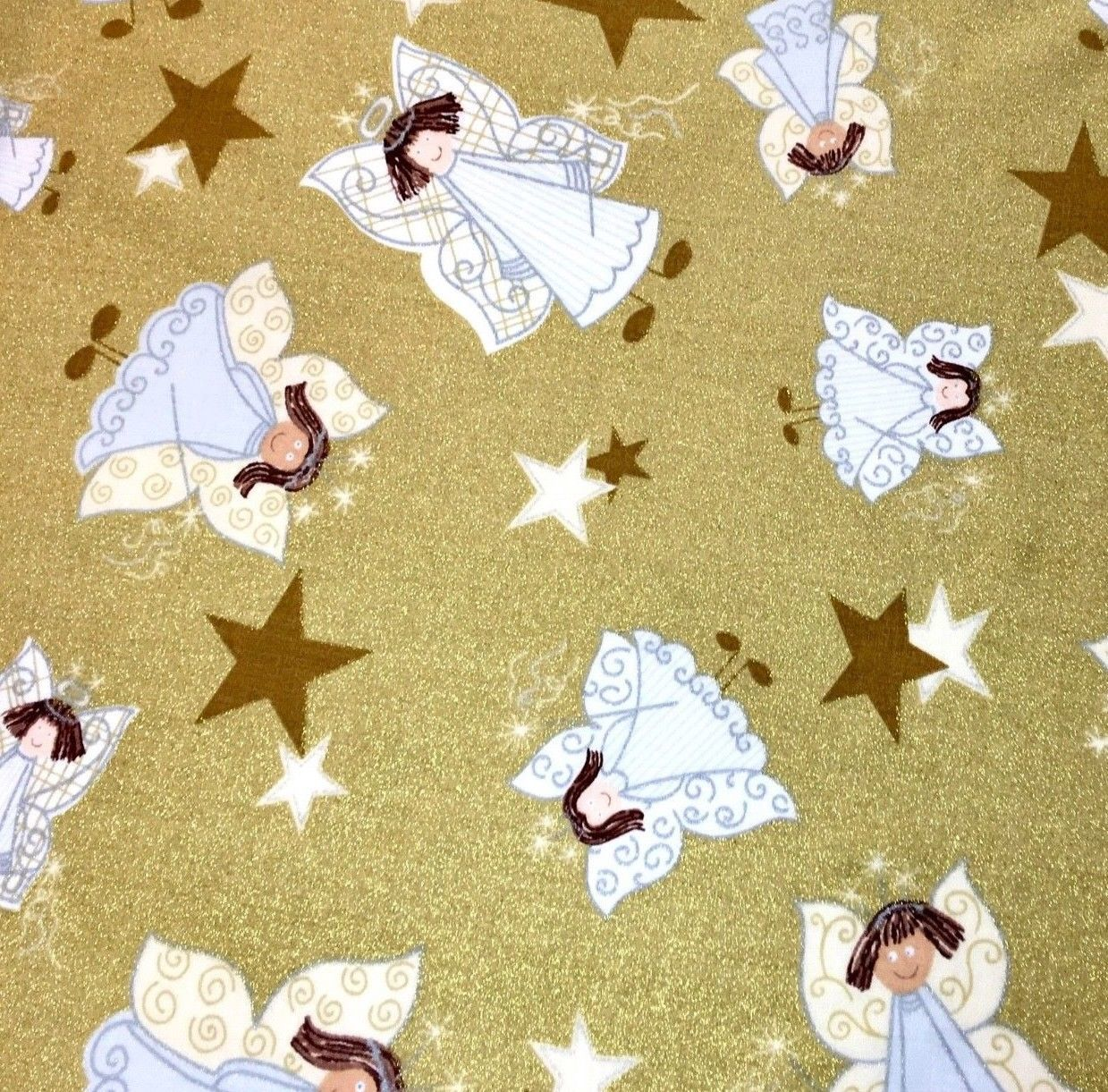 Christmas Angels Stars Fabric Glittery Gold Holiday Sparkle by Fabric Traditions