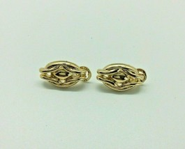 Vintage Napier Clip-On Earrings Gold Tone Link Women Jewelry  - $9.89