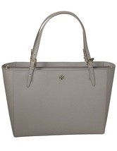 NEW-Tory Burch Emerson Large Buckle Tote Tiger's Eye Gray Saffiano Leath... - $295.09