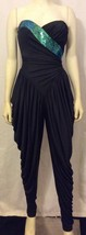 VTG TD4 by Electra Black Strapless Draped Jumpsuit W/Green Sequin Accent... - $48.23