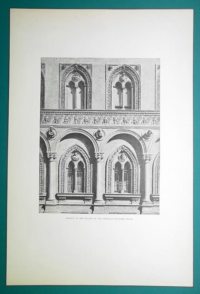 ITALY Milan Facade of Hospital Ospedale Maggiore - 1888 Original Print