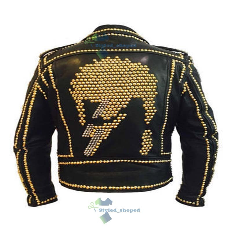 Handmade Men's Biker Black Punk Monster Skull Golden Studded Real Leather Jacket image 4
