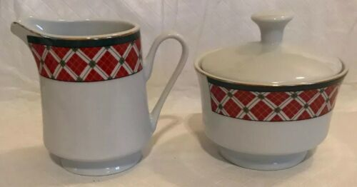 Windsor Gibson China Red Green Christmas Checked Sugar & Creamer Lot Unused