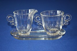 Heisey Glass Lariat Clear Creamer & Sugar - $9.90