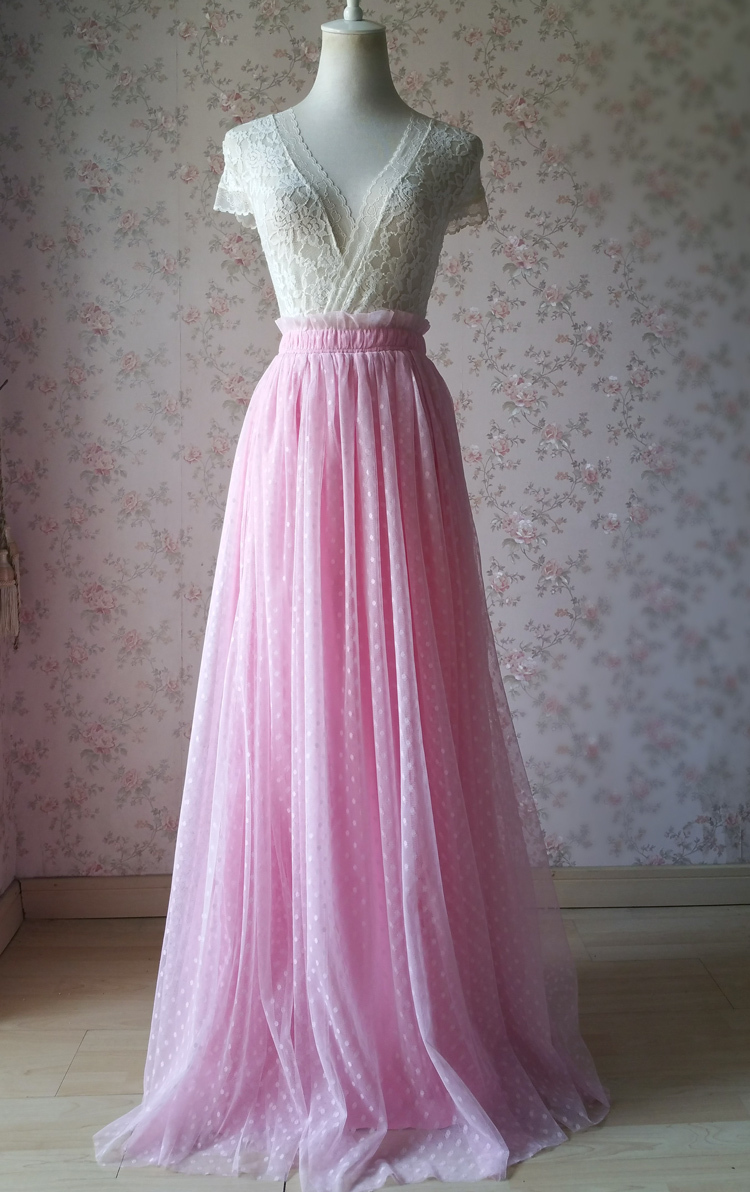 TAFFY PINK Full Tulle Skirt Bridesmaid Tulle Prom Skirt Dot High Waist US0-US28