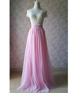 PINK High Waist Floor Length Tulle Skirt Pink Wedding Bridesmaid Dot Tul... - $49.99