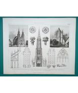 ARCHITECTURE Cologne St Vitus Prague Cathedrals Gladbach - 1870 Engravin... - $16.20