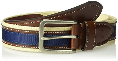 Tommy Hilfiger Men's Casual Fabric Belt, Khaki/Brown/Navy, 32