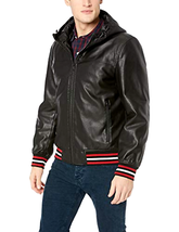 Tommy Hilfiger Men's Faux Leather Hoody Bomber with Striped Rib Knit, Bl... - $114.99