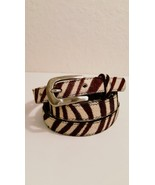 Vintage Zebra Print Belt Brushed Silver Tone Buckle  - $0.00