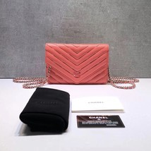 NEW AUTH CHANEL LIMITED Coral Pink Chevron WOC Wallet on Chain WOC Bag  image 1