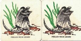 Frilled Neck Lizard Set of 2 Cardboard Coasters Animals of Australia Ser... - $4.99