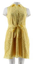 Isaac Mizrahi Eyelet Shirt Dress Removable Belt Citron 14 NEW A289614 - $57.40