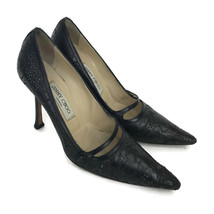 Jimmy Choo Women's Black Stiletto Heel Pumps Perforated Toes Made Italy Size 37 - $121.43