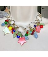 GLASS LAMPWORK Fruit Leaves Two-Tone NECKLACE - 16 inches long - £29.07 GBP