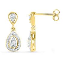 10k Yellow Gold Womens Round Diamond Teardrop Dangle Screwback Earrings 1/3 - $360.00