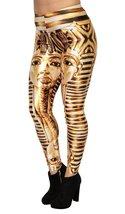 BadAssLeggings Women's King Tut Leggings Medium Gold - $17.81
