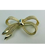 Vintage Signed Boucher Bow Ribbon Gold Tone BROOCH PIN  - $19.79