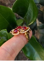 925 Sterling Silver Natural A+ Quality Garnet And Cz Gemstones 22k Gold Plated A image 5