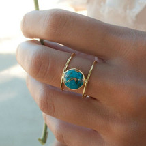 Blue Turquoise Ring Antique Vintage Silver Titanium Double Layer Water D... - $5.96