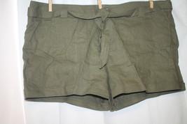 NEW WOMENS 3X OLIVE GREEN LINEN DRESS SHORTS WITH FRONT ZIPPER & BUTTON ... - $15.47