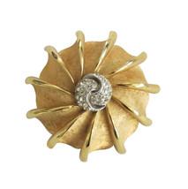 Vintage BSK Gold Tone & Rhinestone Brooch Pin - $24.00