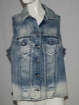 Silver Jeans Distressed Denim Blue Jean Vest Frayed Womens Size OX Stone... - $24.70