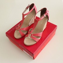 Aerosoles Women's Plush Ahead Strappy Wedge Sandal Coral Size 11 Gold de... - $44.52