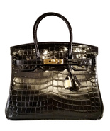 30 cm St. Germain Genuine Leather Top Handle Padlock Handbag Black Croc ... - $399.00