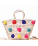Summer Colorful Pom Poms Beach Straw Bag - $34.99
