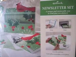 NEW PGX4443 Hallmark Red Cardinal and Holly Christmas Newsletter Set w Envelopes - $9.89