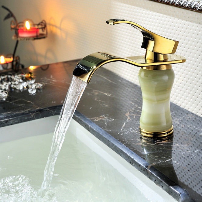 Primary image for GOLD solid brass Jade Single hole bathroom basin sink faucet mixer tap Short New