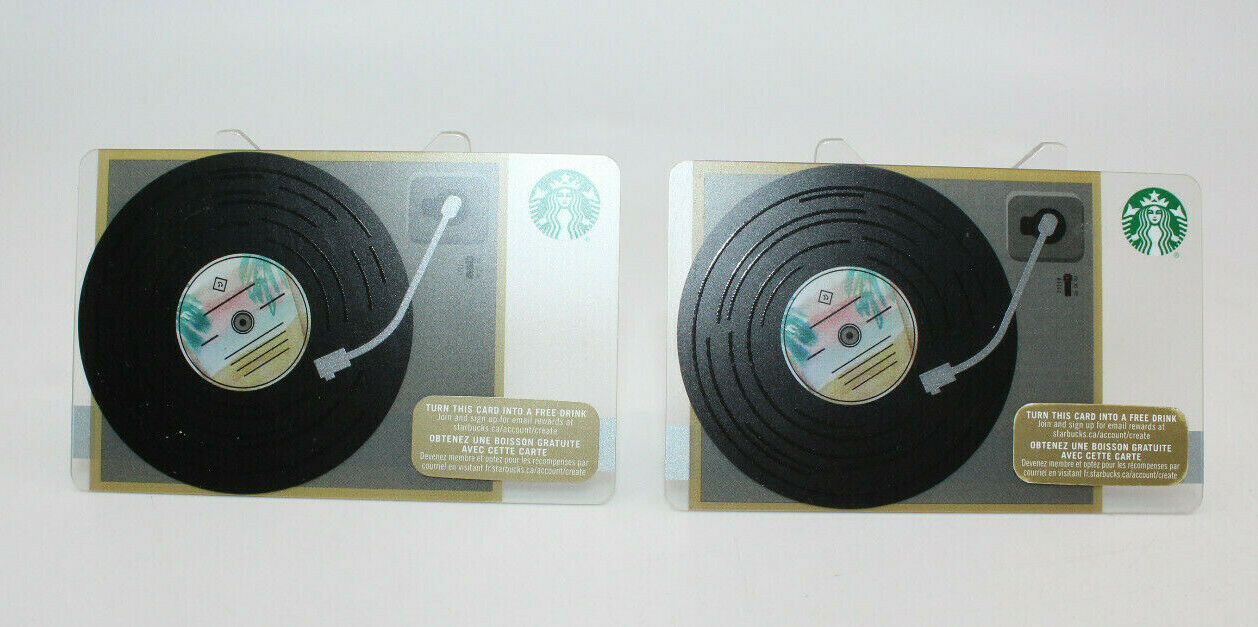 Primary image for Starbucks Coffee 2015 Gift Card Record Player Turntable Zero Balance Set of 2