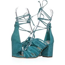 Nine West Genie Lace Up Block Heel Dress Sandals 543, Dark Turquoise, 6 US - $34.84
