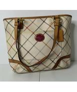 Coach leather beige plaid patterned Logo hand bag purse K7 - $64.35