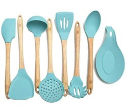 Premium Silicone Cooking Utensils Set, 8 Piece Kitchen Utensil Set with ... - $34.11