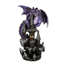 Small Guardian Dragon Protecting Castle with Rhinestone Rock Crystal Tabletop De - $11.87