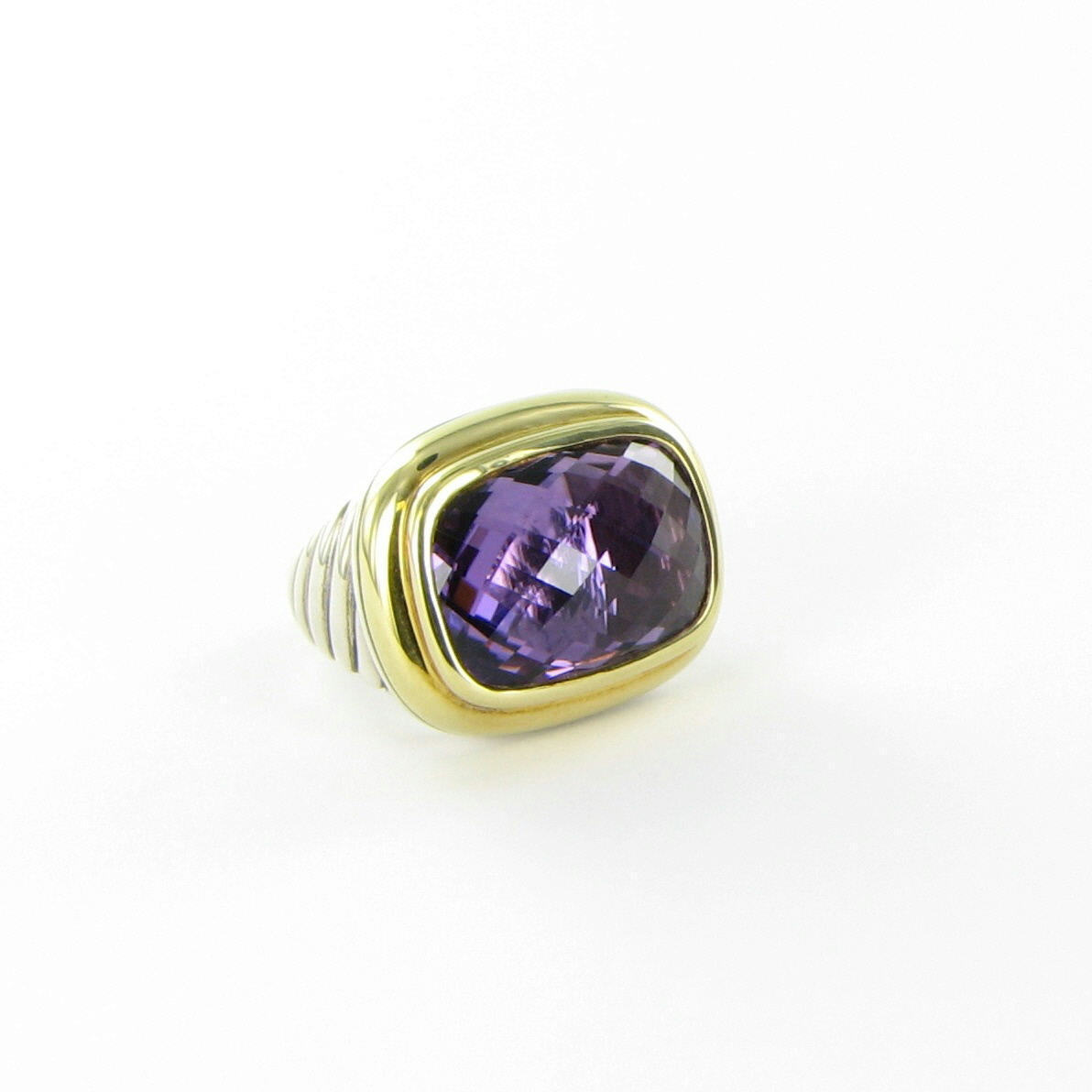 David Yurman Waverly Ring 18mm Amethyst 18K Yellow Gold Bezel Sterling Sz 6 New