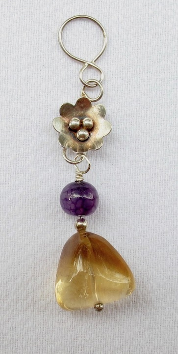Sterling Silver and Citrine Pendant with Flower and Amethyst