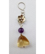 Sterling Silver and Citrine Pendant with Flower and Amethyst - $50.00