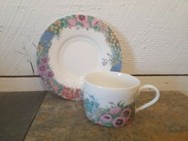 Nikko Secret Garden Cup Saucer Thailand Flowers Floral White Multiples Available - $6.92