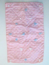"""Vintage Handmade Baby Doll Quilt Pink & White Gingham  12.5"""" x 20"""" - $19.99"""