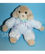 "Russ Cloth Flowers Body DOG 9"" Tan Plush Stuffed Animal I Love You Bow 1... - $16.42"