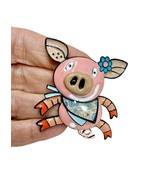 "2"" Tall Large Enameled Pig Pin Backpack Brooch Black Enamel Finish, C Clasp - $13.46"