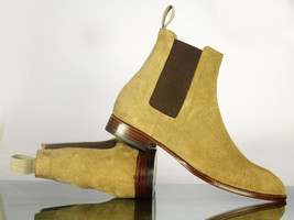 Handmade Men's Beige Suede High Ankle Chelsea Style Boots image 3