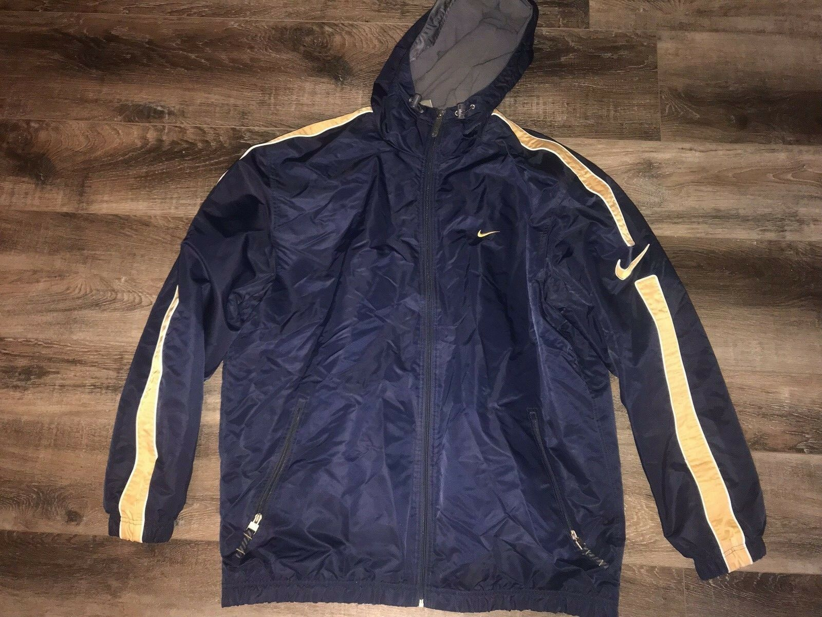Primary image for Nike ~ Men's Coat Long Navy Blue Gold Hooded Fleece Lined Athletic ~ XL