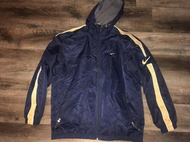 Nike ~ Men's Coat Long Navy Blue Gold Hooded Fleece Lined Athletic ~ XL - $46.27
