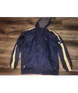 Nike ~ Men's Coat Long Navy Blue Gold Hooded Fleece Lined Athletic ~ XL - $46.27
