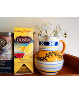 Vintage Czechoslovak Peasant-Style White Yellow Blue Pottery Pitcher Vase~ - $18.00
